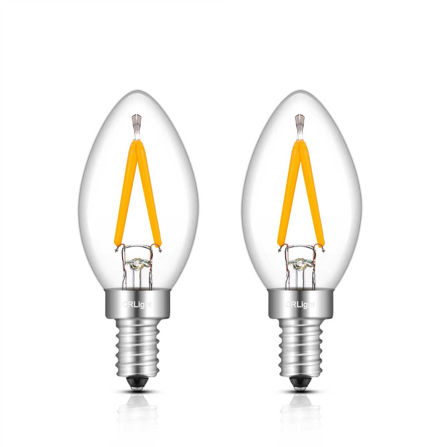 CRLight 1W 150LM LED Candelabra C7 Night Light Bulbs, 2700K Warm White 15W Incandescent Replacement, E12 Base C7 Mini Candle Torpedo Shape, 360 Degrees Beam Angle, Non-dimmable, 2 Pack