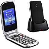 """Easyfone W77 Senior Unlocked GSM Flip Cell Phone (T-Mobile), SOS Button, 2.4"""" Large Screen with Large Keypad and Big Font, FM/Flashlight Quick Switch with Charging Dock - Black"""