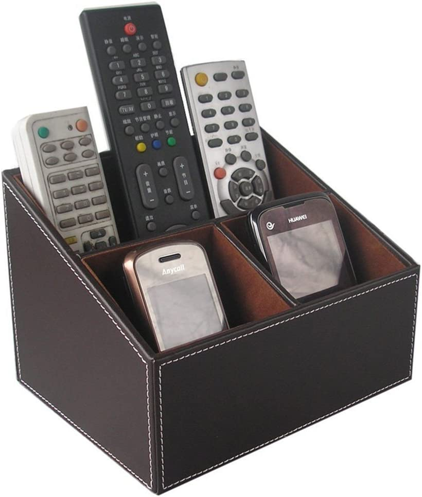 KINGFOM 3 Compartment PU Leather Remote Control Holder Desk Organizer; Home Sundries Storage Box; TV Guide/Mail/CD Organizer/Caddy/Holder with Free Cable Organizer (Brown)