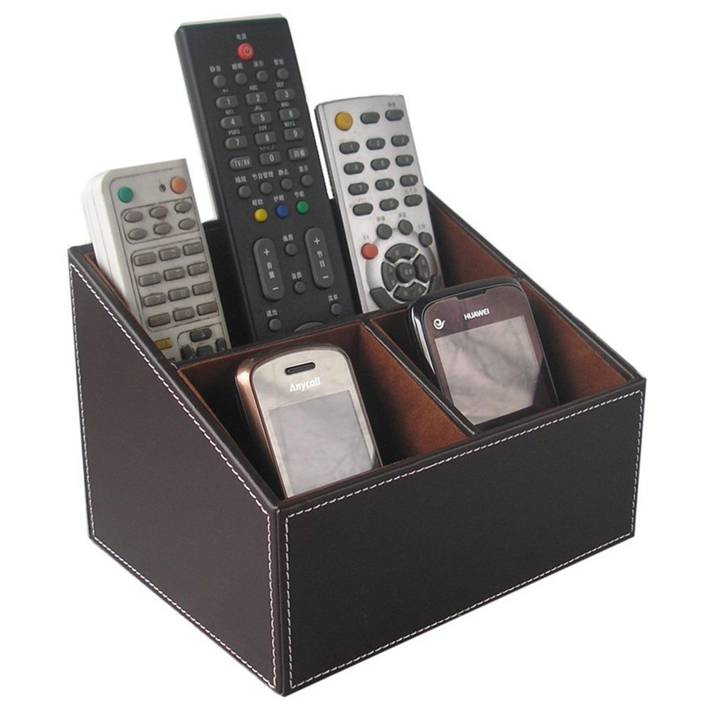 Superior Amazon.com : KINGFOM 3 Compartment PU Leather Desk Remote Controller Holder  Organizer; Home Sundries Storage Box; TV Guide/Mail/CD  Organizer/Caddy/Holder ...