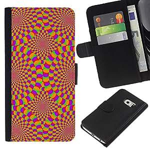 Samsung Galaxy S6 EDGE SM-G925 , la tarjeta de Crédito Slots PU Funda de cuero Monedero caso cubierta de piel ( Hypnotic Wallpaper Geometrical Art Design)