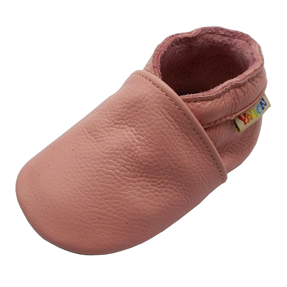 Yalion Baby Boys Girls Shoes Crawling Slipper Toddler Infant Soft Leather First Walking Moccs(Pink,12-18 Months)