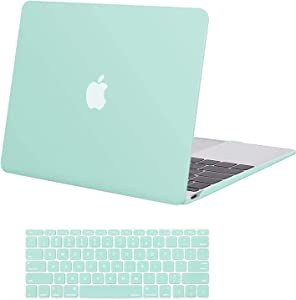 MOSISO Plastic Hard Shell Case & Keyboard Cover Skin Only Compatible with MacBook 12 inch with Retina Display (Model A1534, Release 2017 2016 2015), Mint Green