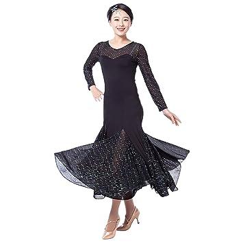 32e8c2eaa BellyQueen Women Modern Waltz Tango Smooth Ballroom Dance Dress Standard Ballroom  Dress for Performance (Black