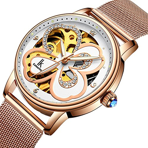 GLEIM Womens Automatic Mechanical Wrist Watch, Classic Crystal Dial Auto-Winding Lady Dress Watch (Gold)