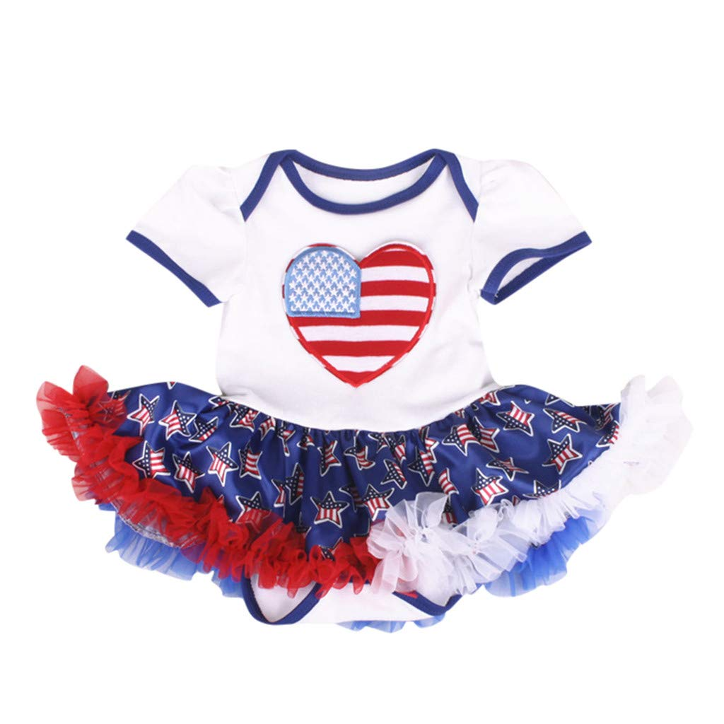 Fashion Baby Girl Dress 4th of July Heart Striped Print Star Tulle Ruffle Romper Outfits (White, Recommended Age:12-18 Months)