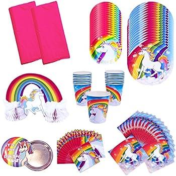 Amazon rainbow unicorn birthday party supplies pack bundle rainbow unicorn birthday party supplies pack bundle kit includes dinner plates dessert plates cups junglespirit Gallery
