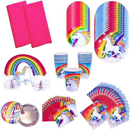 Rainbow Unicorn Birthday Party Supplies Pack Bundle Kit Includes Dinner Plates, Dessert Plates, Cups, Large and Small Napkins, Table covers and Centerpiece - Serves 16 People]()