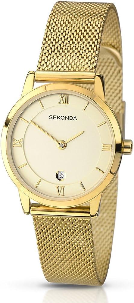SEKONDA 2103.27 - Reloj de Cuarzo para Mujeres, Correa de Acero Inoxidable, Color Dorado
