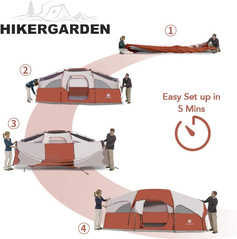 Double Layer HIKERGARDEN Tent-8-Person-Camping-Tents Divided Curtain for Separated Room Waterproof Windproof Family Tent 5 Large Mesh Windows for All Seasons Portable with Carry Bag