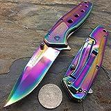 TAC Force TF-926RB Spring Assist Folding Knife, Rainbow Straight Edge Blade, Rainbow Handle, 4-Inch Closed