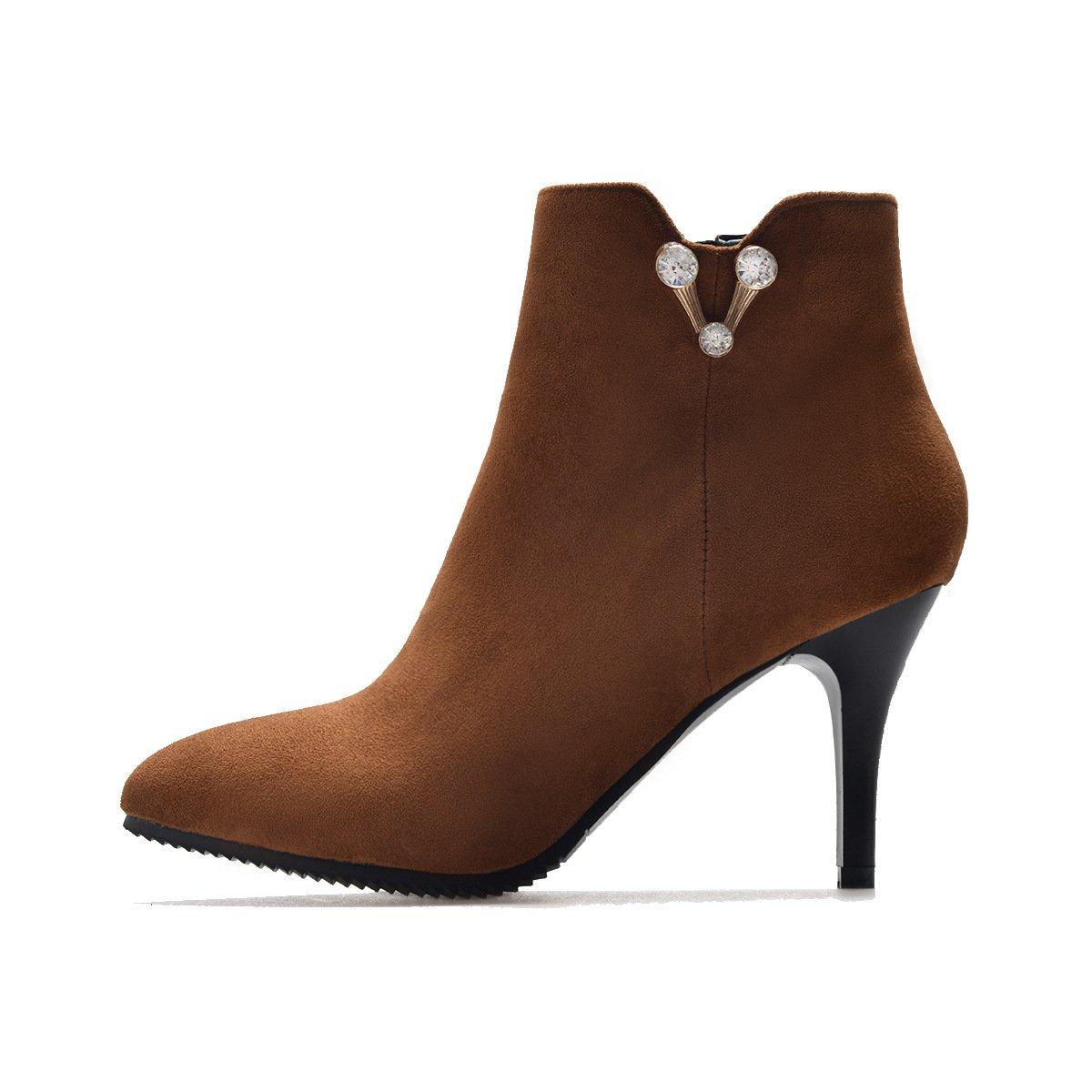 DYF Schuhe Kurze Stiefel Fein Fein Fein High Heel Scharfe Farbe Strass Groß, Gelb, 34 b0abb6
