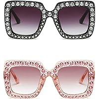 Large Jeweled Sunglasses for Women Crystal Bling Studded Oversized Square Frame
