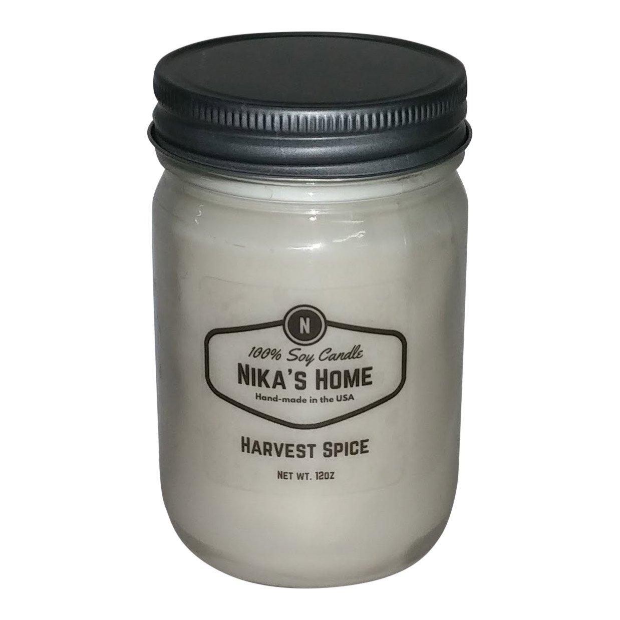 Nika's Home Harvest Spice Soy Candle - 12oz Mason Jar
