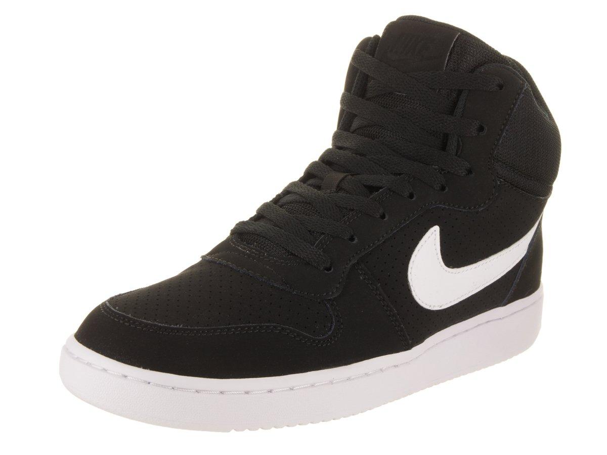 NIKE Men's Court Borough Mid Basketball Shoes Black/White 12