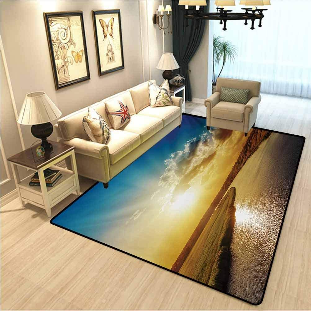 Amazon Com Clouds Play Mats Yoga Mat Cool Sunset Over River Horizon Magical Landscape Phenomenal Physical Event Theme Vintage Traditional Area Kitchen Rug Blue Yellow W5xl6 Ft Kitchen Dining