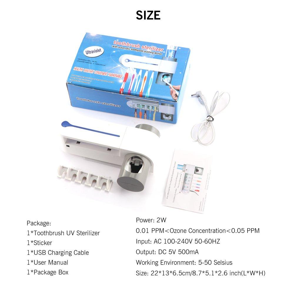 HITECHLIFE Cepillo de dientes Esterilizador Esterilizaci/ón UV y desinfecci/ón Portacepillos de dientes con m/áquina autom/ática de pasta de dientes