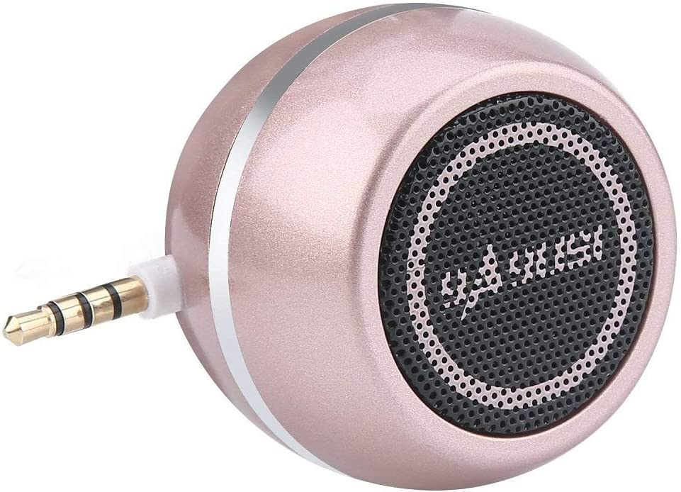 Mini Portable Speaker with 3.5mm Aux Input Jack, 3W Mobile Phone Line-in Speaker for iPhone iPad iPod Tablet Cell Phones, Gifting for Girls/Kids, Rose Gold