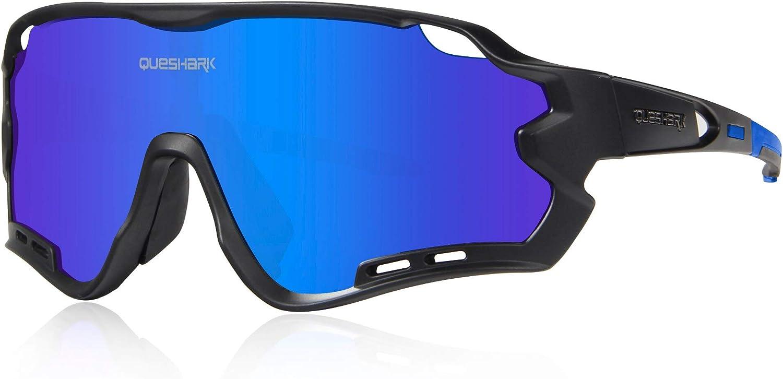 Queshark Polarized Sports Sunglasses with 4 Interchangeable Lenses for Men Women Cycling Running Driving Fishing Golf Baseball Glasses