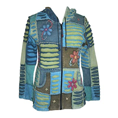 Agan Traders Women's Bohemian Tie-dye Patch Embroidered Cotton Pixie Sweatshirt Hoodie Jacket at Amazon Women's Clothing store