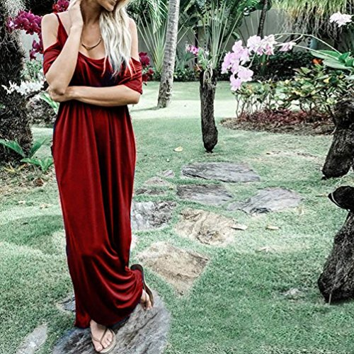 Anboo Des Femmes De Réservoir Veste Solide Manches Longues Robes Maxi Rouge