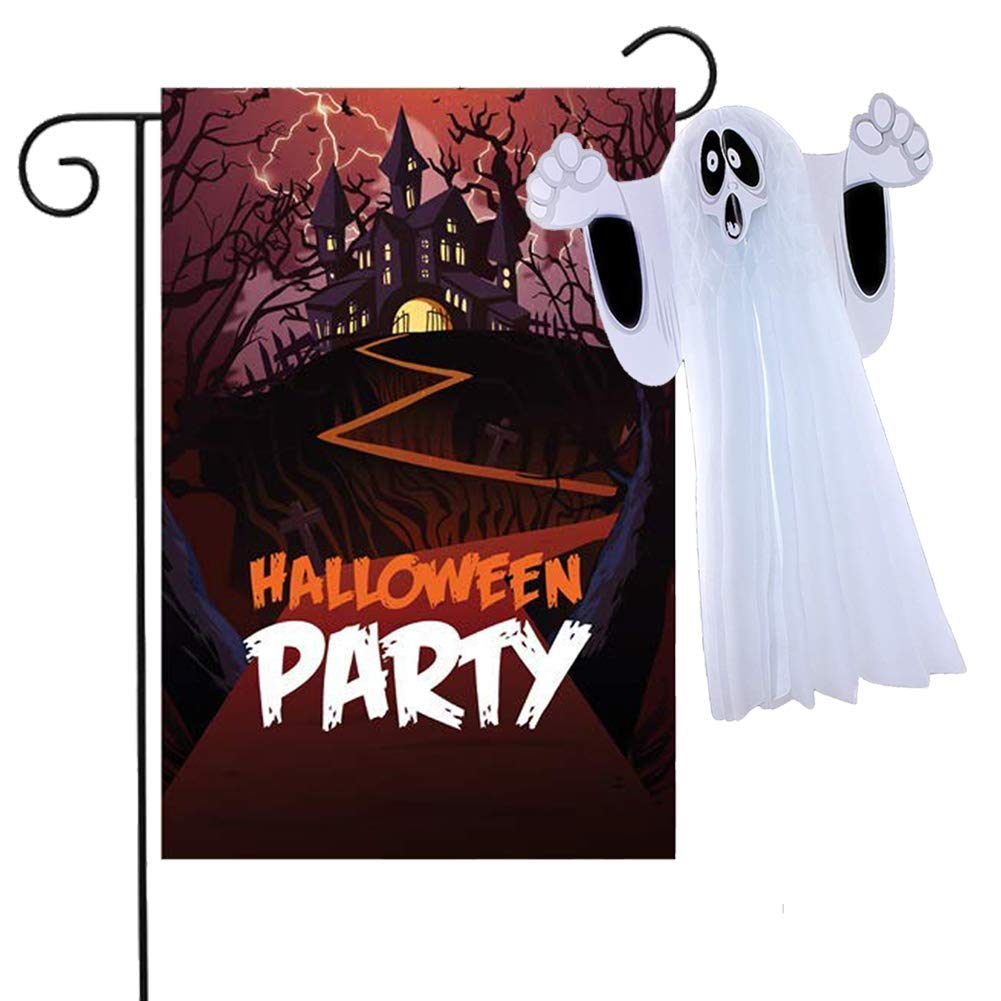 Halloween Garden Flag, 12x18 Inch Two Sided Yard Flag, with Hanging Ghost for Outdoor Home Decor Party Favor