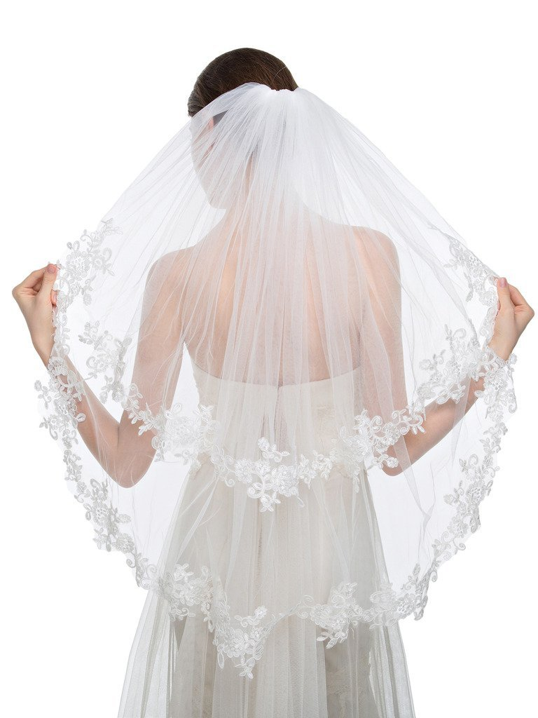 Edith qi Elegant Wedding Veil 2T Two-tier Elbow Veils Lace Applique Edge with Comb by Edith qi