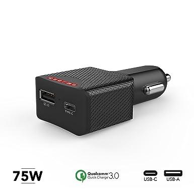 GearMo USB C Suministro de alimentación 60 W de Salida Cargador de Coche para Ordenadores portátiles