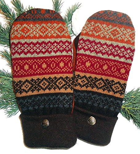 Integrity Designs Sweater Mittens, 100% Wool, Black, Green, Red, Camel Fair Isle, Polar Fleece Lining, Adult Size Medium / Large Ladies, Contrasting Button by Integrity Designs