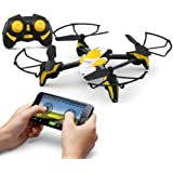 KAI DENG K90 RC Drone with 0.3MP Wifi Camera 2.4Ghz 6-Axis Gyro 4 Channels Drone Quadcopter with Video Camera App Control without Transmitter - Yellow