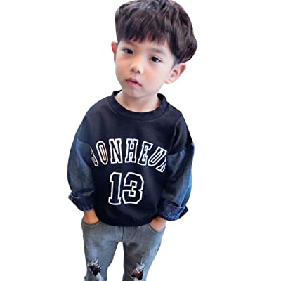 AliveGOT Unisex Baby Clothes Letter Print Tshirt Patchwork Denim Raglan Long Sleeve Sweatshirt Tops