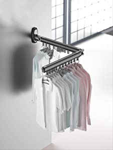Balcony Wall-Mounted Folding Clothes Rack Indoor Home Retractable Clothesline Stealth Drying Outdoor