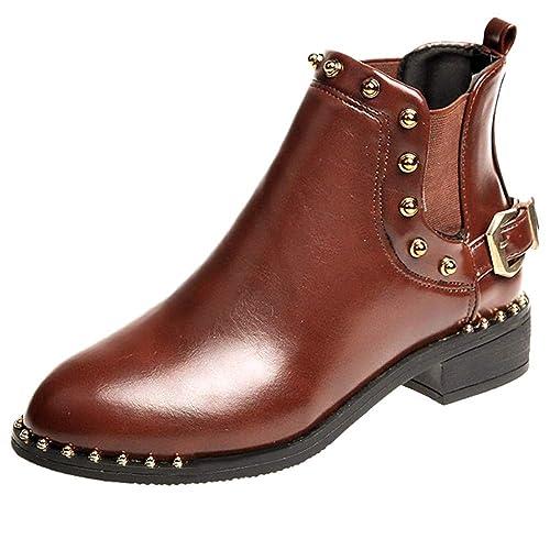 QinMM Botas Cortas Retro de tacón bajo para Mujer Botines Zapatos de Combat: Amazon.es: Zapatos y complementos