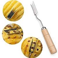 Rishx Acier inoxydable ananas éplucheur en forme de V ananas outil de dissolvant des yeux trancheuse cutter poignée en bois triangle couteau à ananas cuisine fruit de coupe gadget