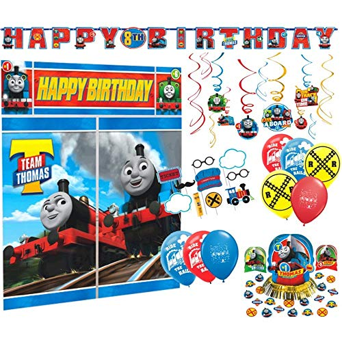 (Party Decoration Supply Pack for Thomas the Tank Engine Themed Party with Add-An-Age banner, Table Centerpiece Kit, Hanging Swirls, Photo Backdrop, Props &)