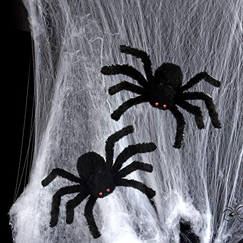 FEPITO 2 Large Halloween Plush Spiders with 1 White Spider Web 30cm Black Spiders with Red Eyes Scary Spider for Halloween Decorations ()