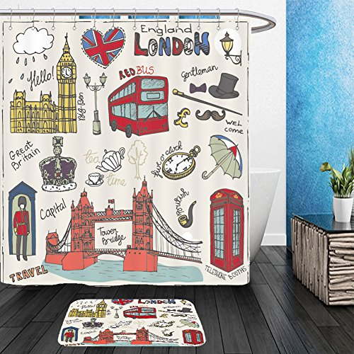 Vanfan Bathroom 2 Suits 1 Shower Curtains &  1 Floor Mats vector london landmark symbols lettering doodle hand drawn sketchy famous architectural monuments 291492662 From Bath room
