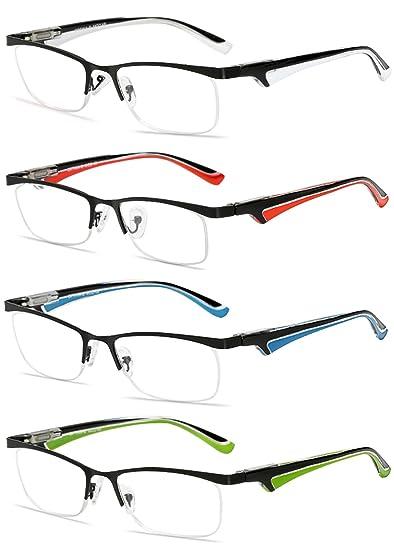 VEVESMUNDO Gafas de Lectura Hombre Mujer Metalicas Medio Marco Presbicia Modernas Vista Leer Graduadas Blanco Rojo Azul Verde 1.0 1.5 2.0 2.5 3.0 3.5 ...