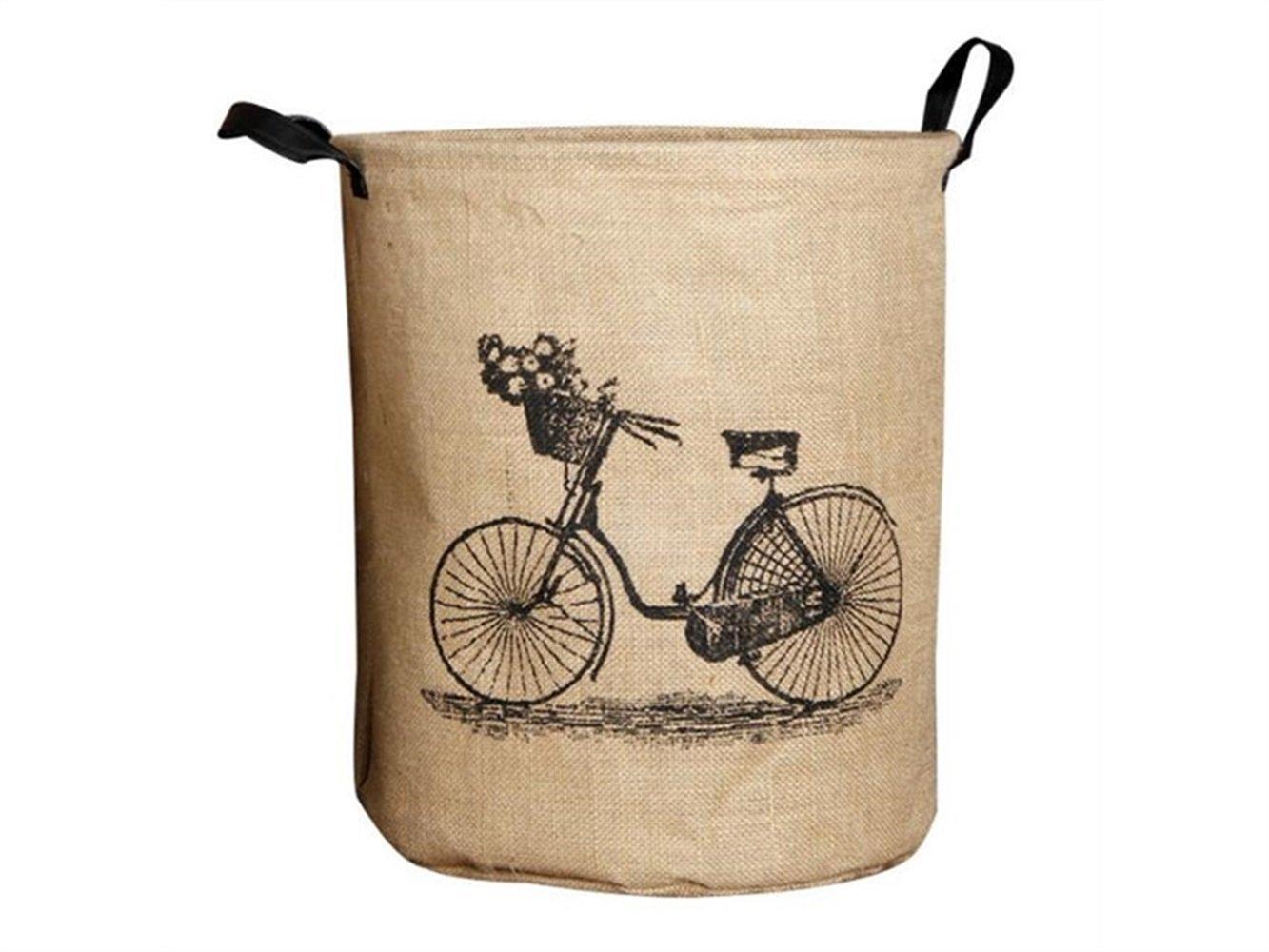 Gelaiken Lightweight Bicycle Pattern Tote Storage Basket Storage Bag Cotton and Linen Storage Box Sundries Storage Bucket(Light Brown)