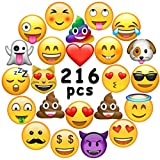Ivenf Extra Large Emoji Laptop/Luggage Stickers, Kids Party Supplies/Favors/Decoration, 36 Sheets 216 pcs