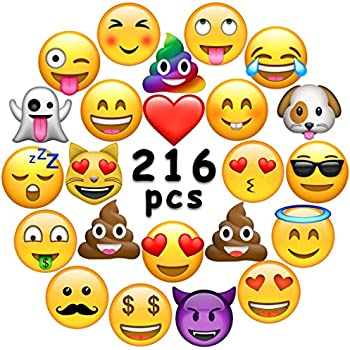 Ivenf Extra Large Fun Emoji Face Stickers Teacher Reward For Prizes Kids Party Supplies Favors Decoration Games 36 Sheets 216 Pcs