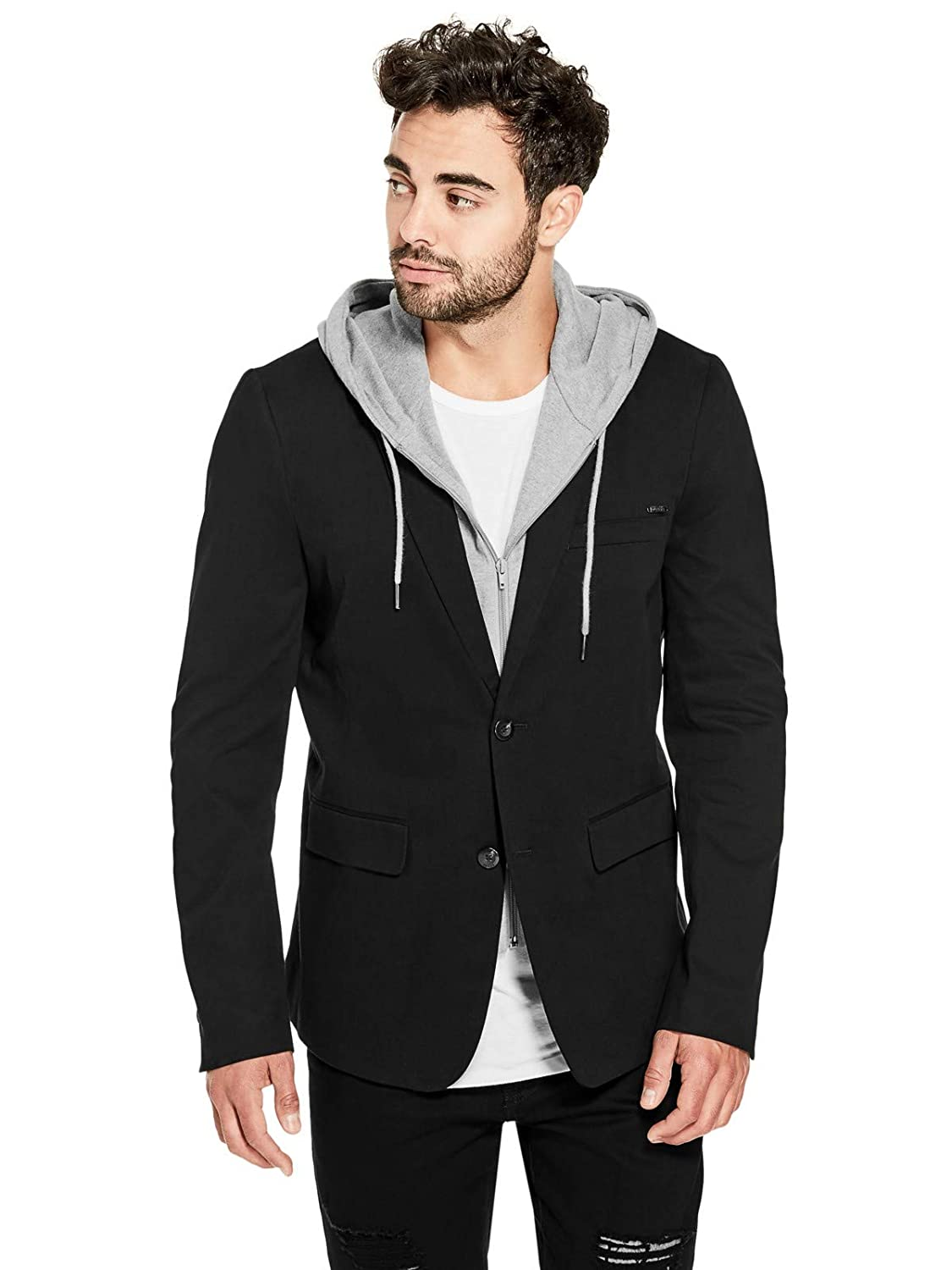 Guess Factory Men's Blain Knit-Combo Hooded Blazer GuessFactory