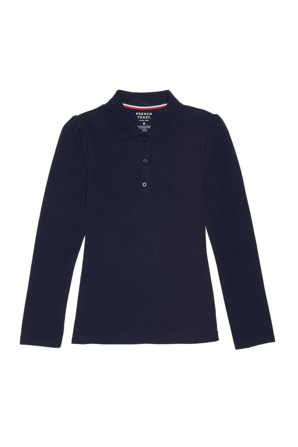 French Toast Big Girls' Long Sleeve Stretch Pique Polo, Navy, M (7/8)