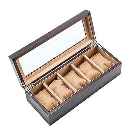 Cajas para Relojes de Madera con 5 Compartimentos Estuche para Relojes y Joyeros Joyas Soporte de