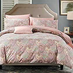 Brandream Luxury Paisley Duvet Cover Set Elegant Bedding 3PCS Reversible Quilted Duvet Cover Set - All Season Hotel Quality (Queen,Pink)