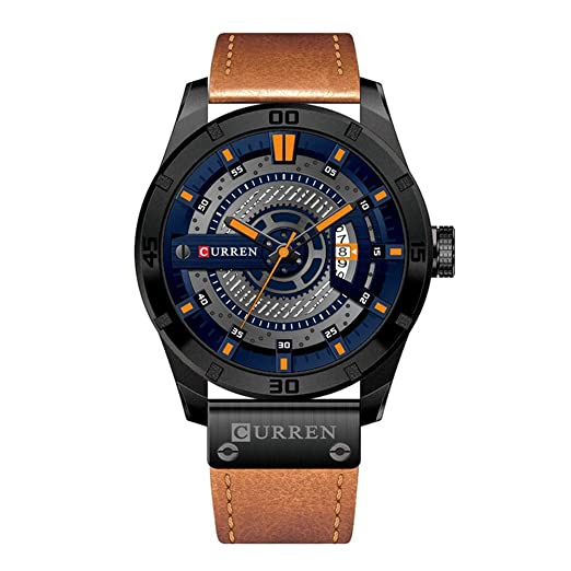 CURREN 8301 Top Brand Luxury Watch Men Date Display Cuero Creativo Relojes de pulsera de cuarzo Naranja: Amazon.es: Relojes