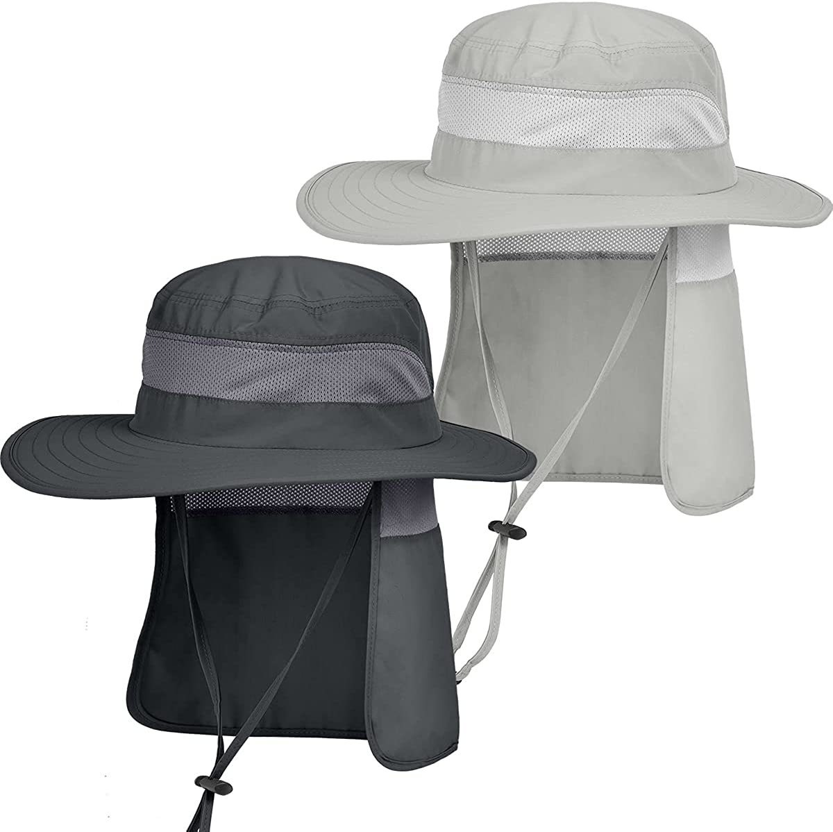 IYEBRAO 2 Pieces Mens Sun Protection Hat with Neck Flap for Fishing Hiking & Garden