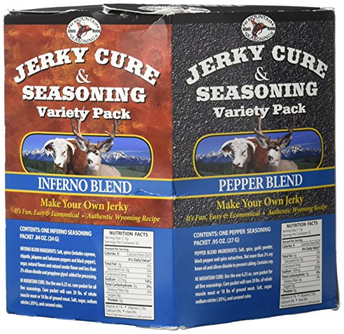 - Hi Mountain Jerky Seasoning Variety Pack No. 2 Contains Five Flavors in Pepper, Sweet & Spicy, Mandarin Teriyaki, Inferno and Pepperoni Blend Variants Seasons Up To 20 Lbs Of Meat