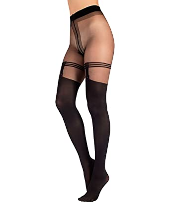 f236b795f07d2 STOCKING TIGHTS EFFECT WITH SUSPENDER LACE | MOCK SUSPENDER TIGHTS | 20/40  DEN | S M L XL | BLACK | ITALIAN HOSIERY | (S/M): Amazon.co.uk: Clothing