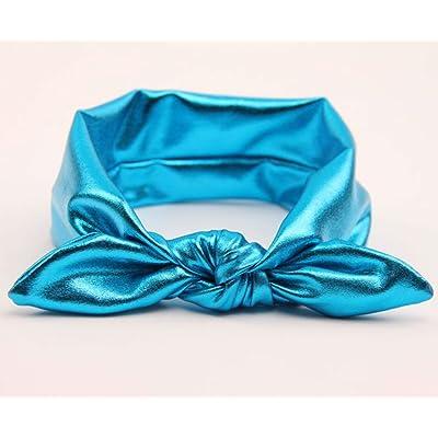 AKOAK New Fashion Children Metallic Messy Big Bow Baby Girls Elasticity Headband Baby Kids Cloth Turban Knot Hairband Wrap(1Pcs,Blue)